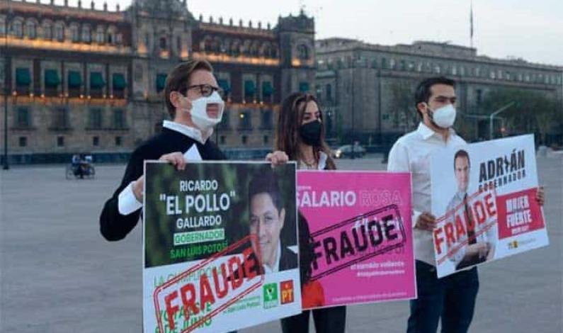 Representantes de MC denuncian en Palacio Nacional entrega de tarjetas en campañas; Gallardo, entre los acusados